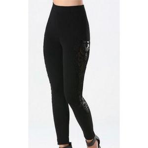 Bebe high waisted embroidery leggings